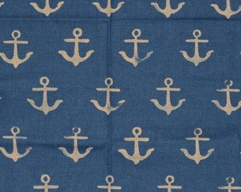 Cotton and Steel fabric ship anchor canvas SS Bluebird nautical nursery