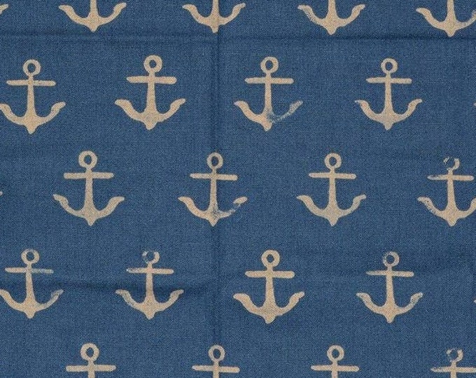 Cotton and Steel fabric ship anchor canvas SS Bluebird nautical nursery