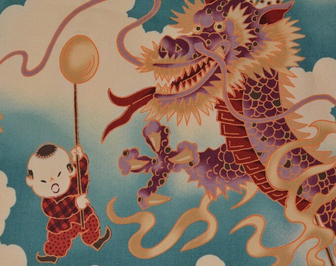 Japanese dragon fabric Asian dragon fabric OOP Alexander Henry fabric