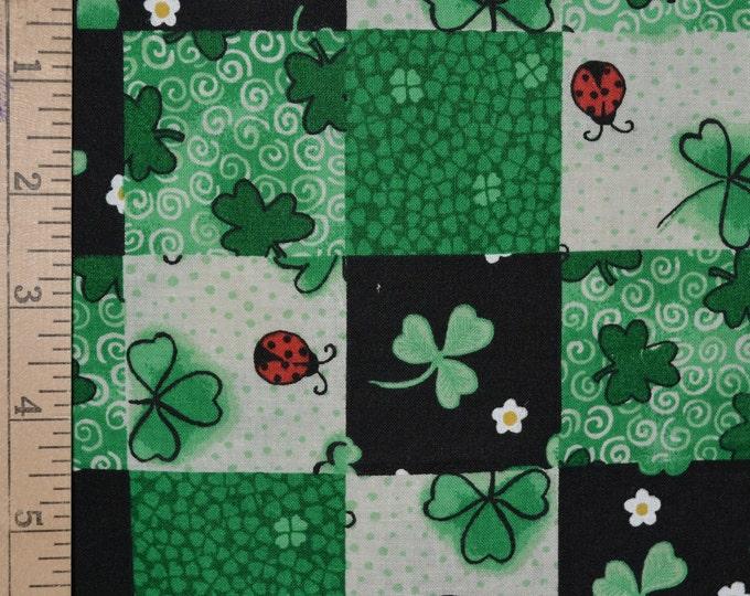 St Patricks Day fabric shamrock fabric lucky ladybugs green black fabric