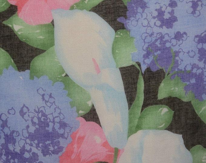 Semi sheer floral fabric, Hydrangea Calla Lily