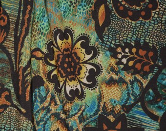 Stretchy jersey knit fabric Boho Floral turquoise brown 2 way stretch