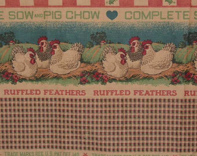 Feed sack style print border fabric, farm animals Sharon Kessler