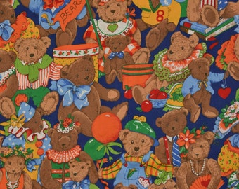 Teddy Bear fabric teddy bear birthday 80s Cranston fabric