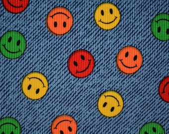 Vintage corduroy cotton fabric, smiley face, Have a Nice Day