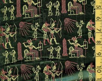 1960s Egyptian theme rayon brocade fabric drapery to deconstruct
