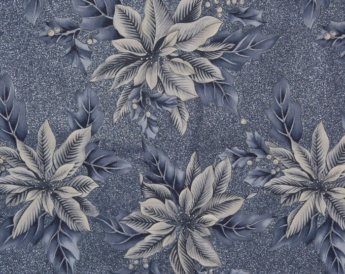 Christmas floral fabric, Winter Blue fabric, Hoffman
