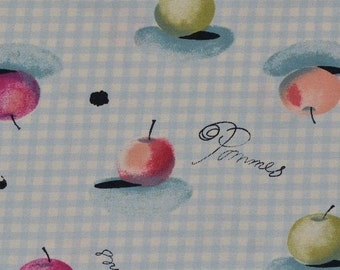 """Vintage rayon fabric, 90s fabric for baby doll dress, gingham check with apples, 3 yards x 54"""""""