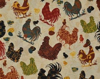 Chickens fabric, Jo Moulton for Wilmington