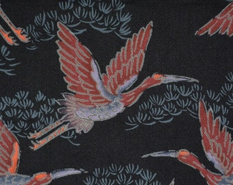 Asian print fabric Japanese cranes Hoffman fabric