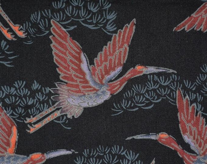 Asian print fabric Japanese cranes Hoffman fabric