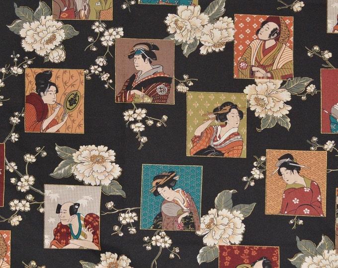 Asian fabric, geisha fabric with samurai, Andover fabrics