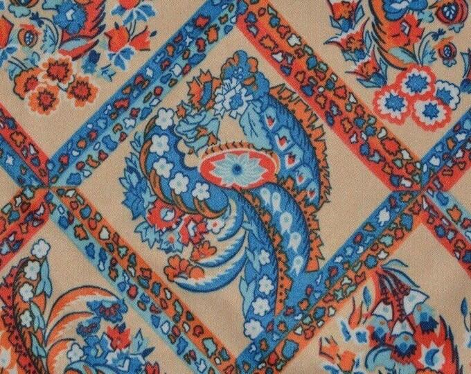 70s floral fabric trellis fabric orange blue fabric stretch poly knit fabric