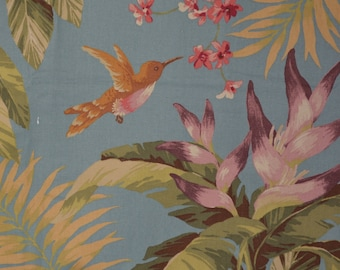 Tropical floral fabric tropical bird fabric Hummingbird fabric cotton canvas Kesslers fabric