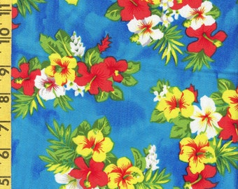 Hawaiian tropical floral fabric yardage, rayon challis twill, 2 yards 56 width