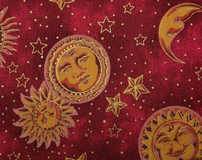Celestial fabric Sun Moon with face Fornasetti