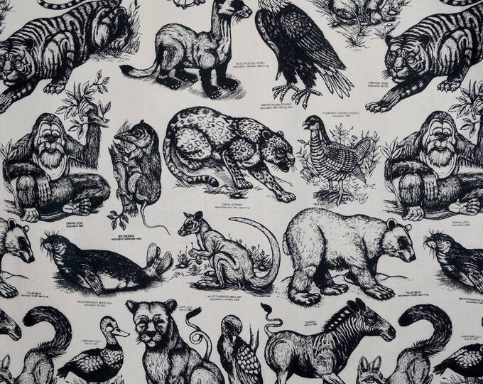 VHTF Rare animals fabric Extinct is Forever by James Grashow