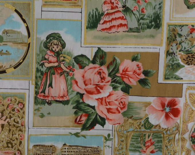 Victorian valentines French postcards fabric Victorian postcards pink roses Victorian children