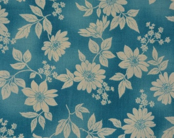 Teal floral fabric Kaufman fabric aqua floral fabric Japanese cotton Flower Shop D#11286