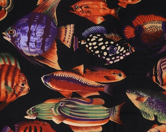 Black Tropical fish fabric, Hoffman fabric, Tide Pools