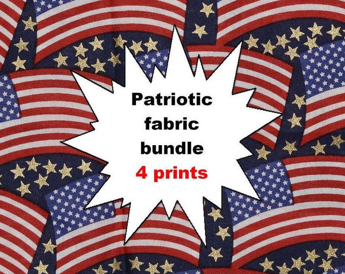 Fabric Bundles cotton Patriotic 4th of July red white and blue