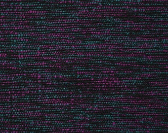 Woven raw silk fabric, multicolor silk fabric loomed textile with fuchsia, teal and black