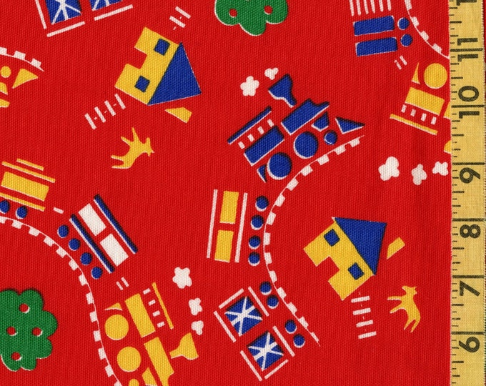Vintage fabric transportation choo choo trains in primary colors