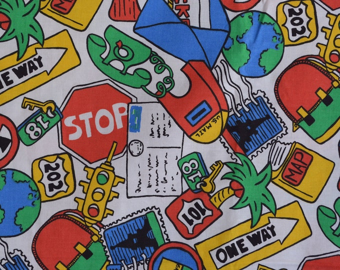 80s fabric, street signs, travel fabric, road trip