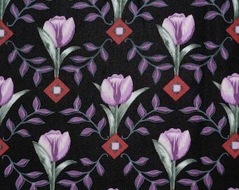 Black floral tulip fabric Northcott fabric