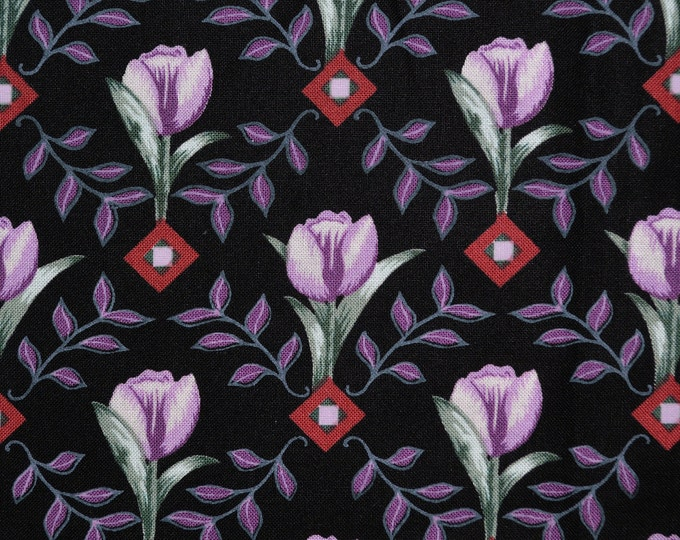 Lavender Tulip fabric, Black floral fabric by the yard, Northcott cotton