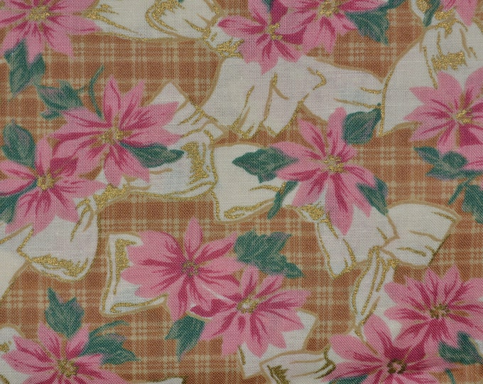 Jennifer Sampou fabric pink poinsettia fabric with bows Christmas fabric Holiday fabric