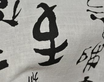 Japanese writing fabric, Asian fabric, calligraphy linen apparel fabric