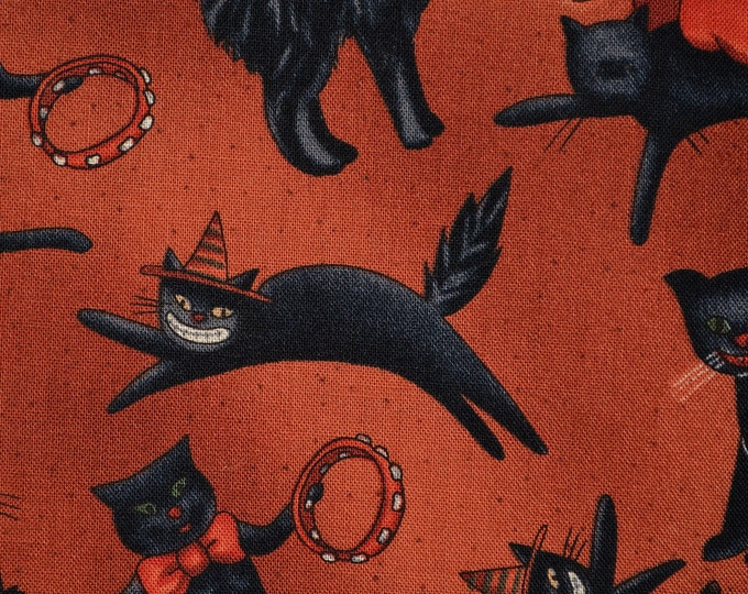 Halloween cats fabric Black cat fabric Halloween fabric folk art cats