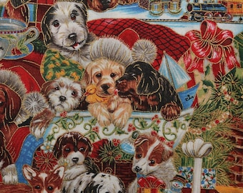 Dog puppy fabric Jenny Newland, Robert Kaufman Christmas fabric
