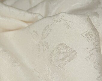 Ivory silk fabric Japanese floral fabric by the yard, damask kimono width