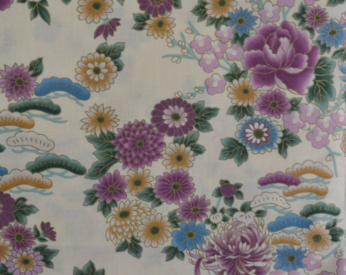 Asian floral fabric Japanese floral fabric by the yard Hoffman Peony Chrysanthemum