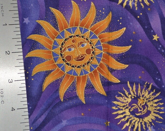 Celestial sun face fabric stars fabric with man in the moon Robert Kaufman