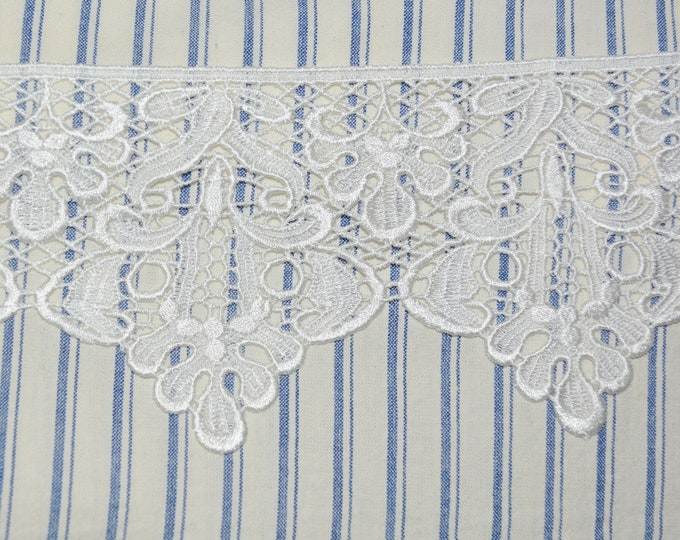 Dyeable lace trim, rayon scalloped edge by the yard, Bella Notte deadstock