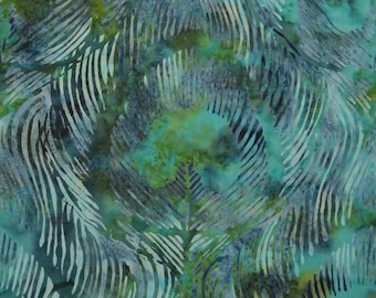 Green and blue Peacock feathers fabric, Tie Dyed Batik fabric