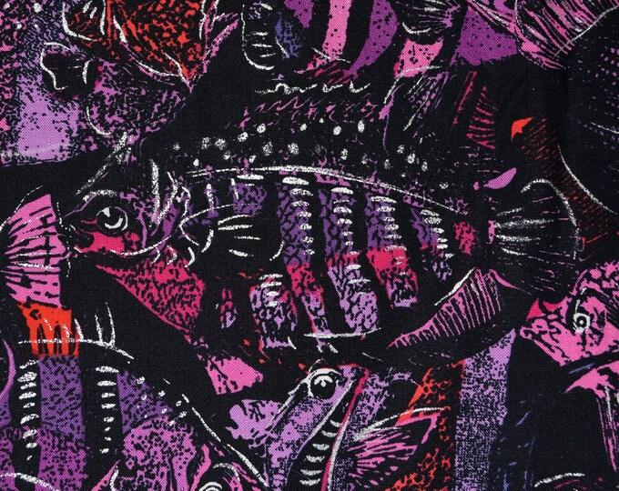 Shades of Purple Fish fabric, school of fish cotton fabric