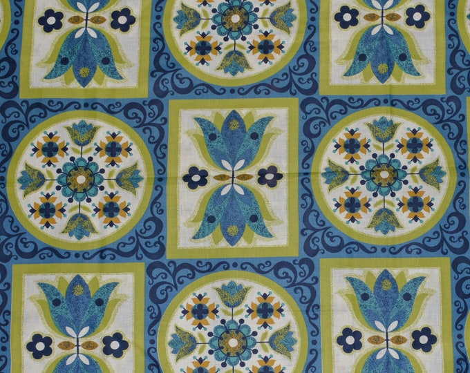 Folk art fabric, mod tulip fabric Scandinavian