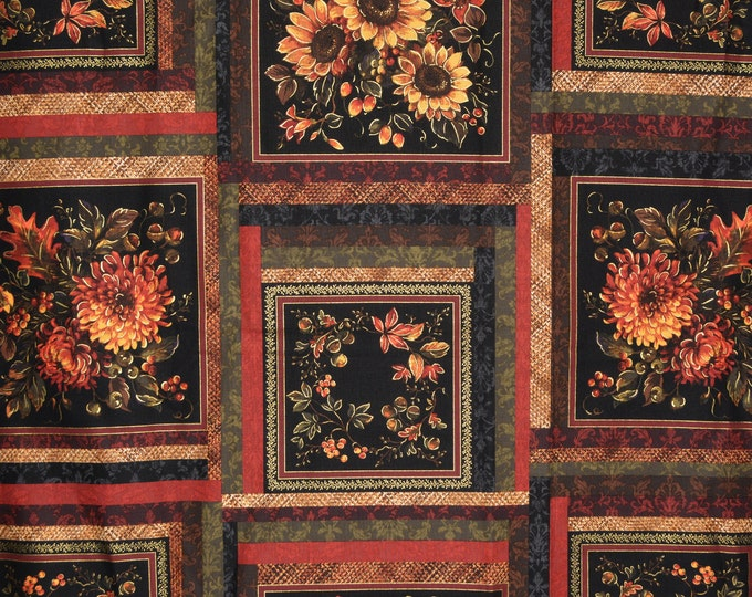 Autumn floral fabric, printed squares for Fall quilting Thanksgiving P and B Textiles