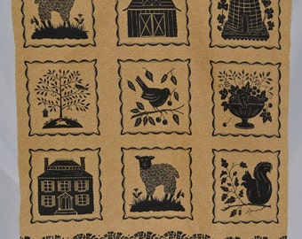 moda fabric panels, folk art fabric, farm life, Kathy Schmitz fabric