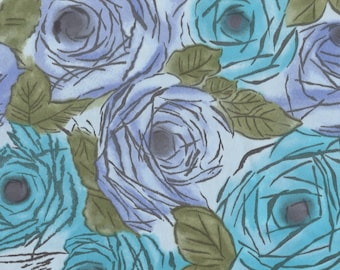 1970s vintage roses floral fabric, teal lavender painterly, satin polyester printed fabric