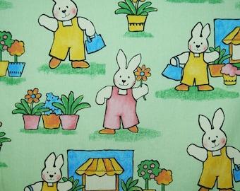 Bunny Rabbit upholstery fabric, retro rabbit, mint green nursery bunny decor fabric