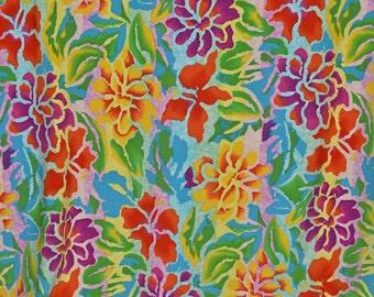 1990s Rainbow tropical floral fabric, rayon challis Hawaii theme
