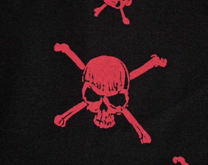 Skull fabric skull crossbones fabric red black