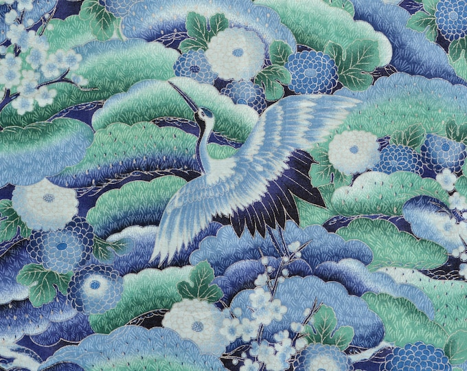 Asian Japanese fabric blue green flying cranes Hoffman Asian cranes