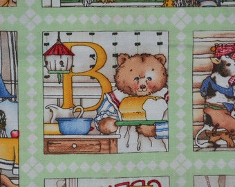 J Wecker Frisch fabric Hungry Animal panels fabric small ABC fabric alphabet fabric