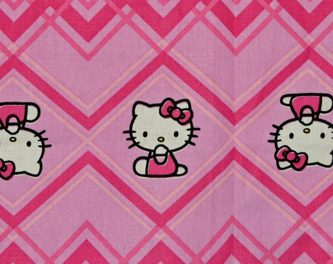 Hello Kitty fabric pink chevron stripe 2014 Sanrio